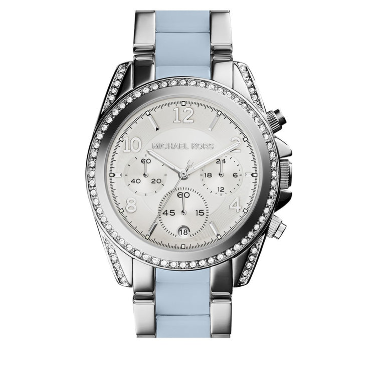 Michael Kors Watch MK6137- Blair Stainless Steel with Blue Resin Accents Chronograph Ladies Watch