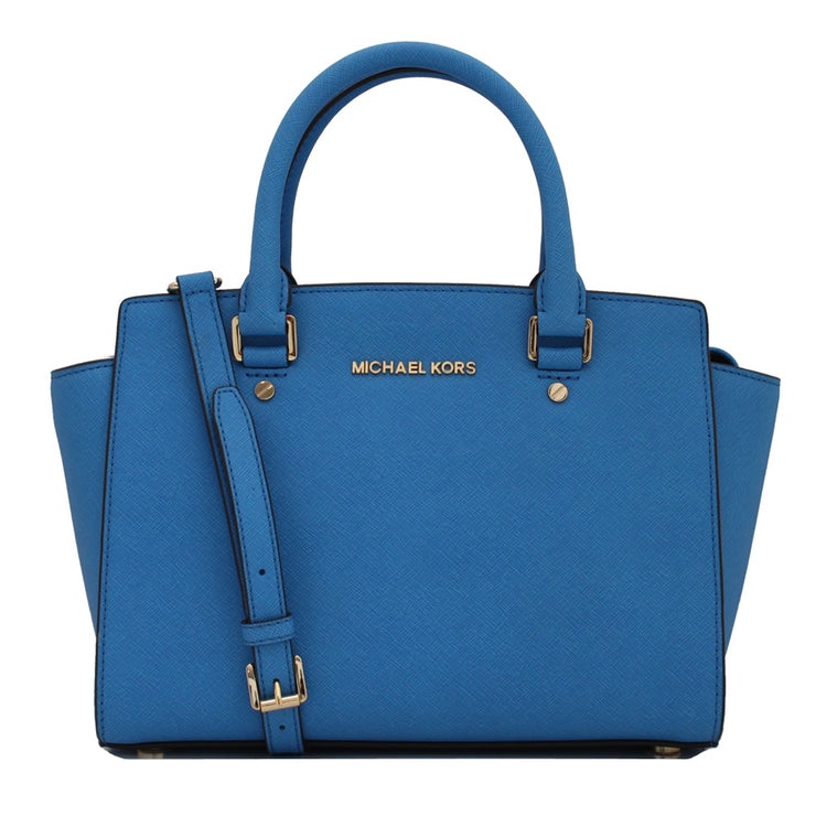 Michael Kors Selma Saffiano Leather Medium Satchel Bag- Heritage Blue