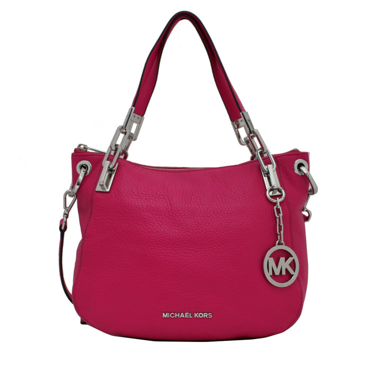 Michael Kors Brooke Leather Medium Shoulder Tote Bag- Raspberry