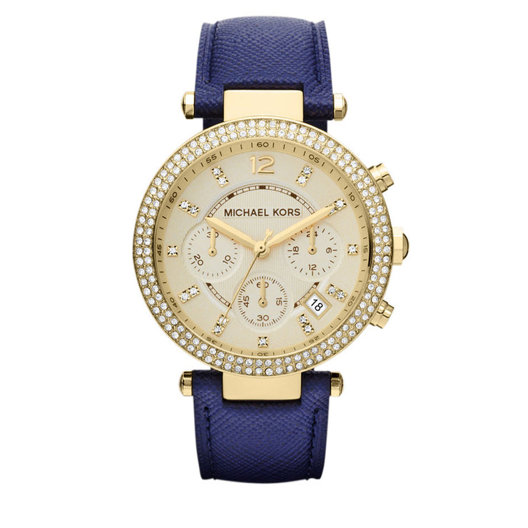 Michael Kors Watch MK2280- Parker Gold Tone Glitz Navy Leather Chronograph Ladies Watch