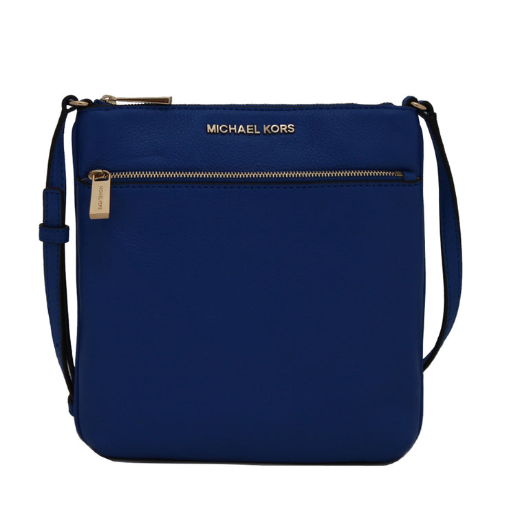 Michael Kors Riley Small Flat Pebbled-Leather Crossbody Bag- Electric Blue