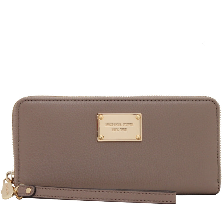 Michael Kors Jet Set Travel Leather Zip Around Continental Wallet Wristlet- Dark Dune