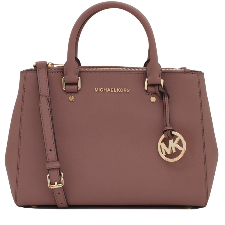 Michael Kors Sutton Medium Saffiano Leather Satchel Bag- Dusty Rose