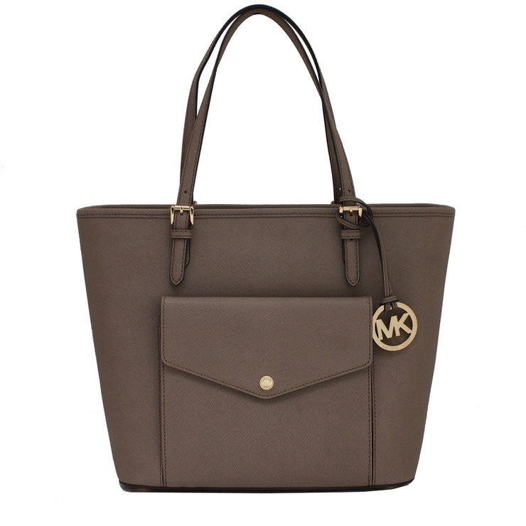 Michael Kors Jet Set Travel Large Saffiano Leather Top Zip Pocket Tote- Dark Dune