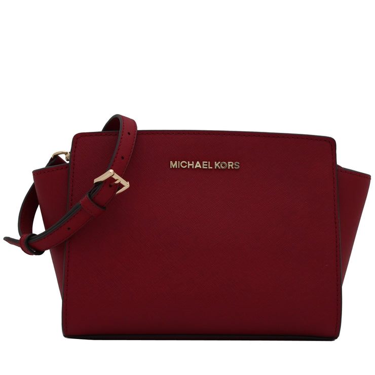 Michael Kors Selma Saffiano Leather Medium Messenger Bag- Cherry