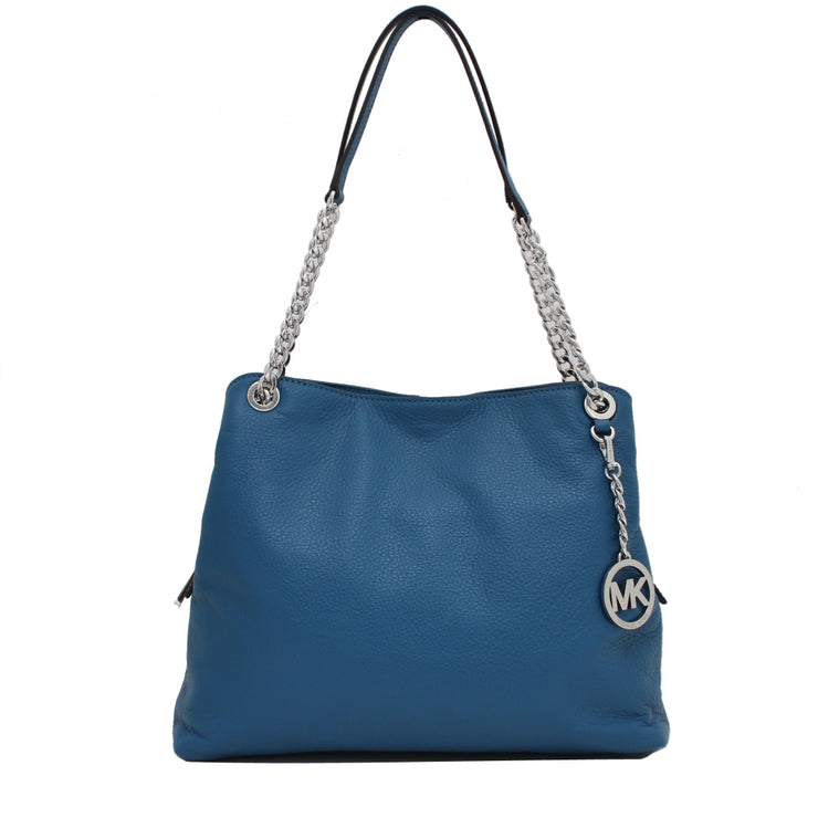 Michael Kors Jet Set Chain Large Leather Shoulder Tote Bag- Steel Blue