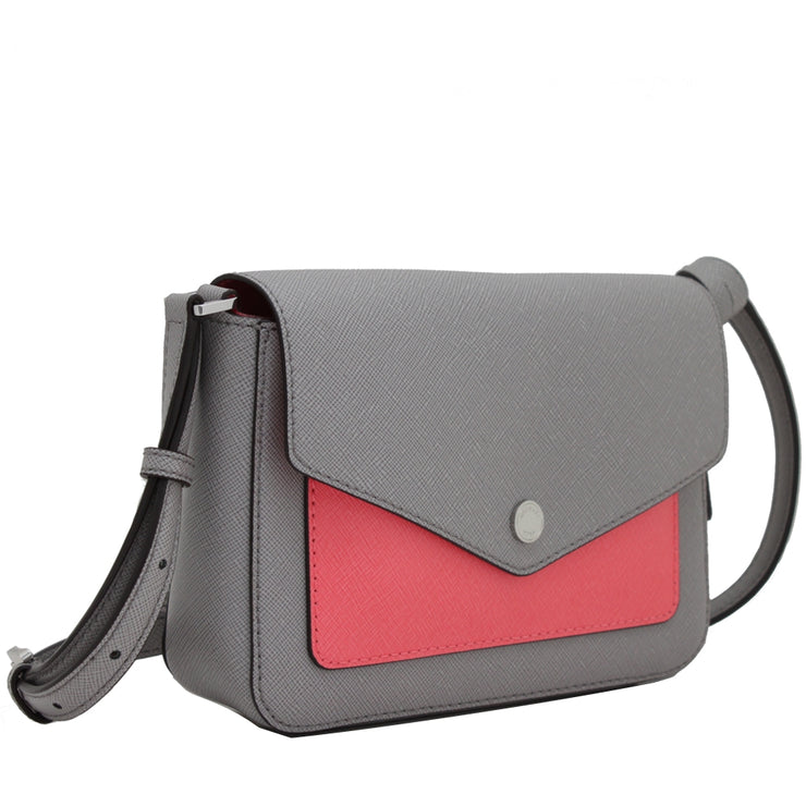 Michael Kors Greenwich Small Flap Leather Crossbody Bag- Pearl Grey- Coral