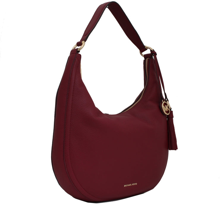 Michael Kors Lydia Leather Large Hobo Bag- Mulberry