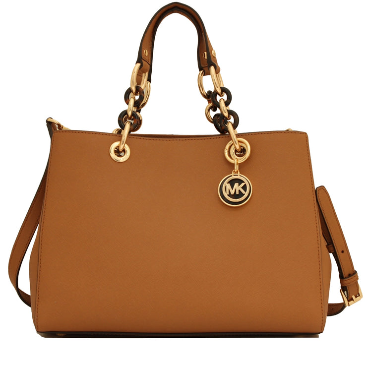 Michael Kors Cynthia Saffiano Leather Medium Satchel Bag- Acorn