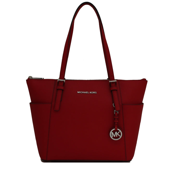 Michael Kors Jet Set Top-Zip Saffiano Leather East West Tote Bag- Bright Red- Silver