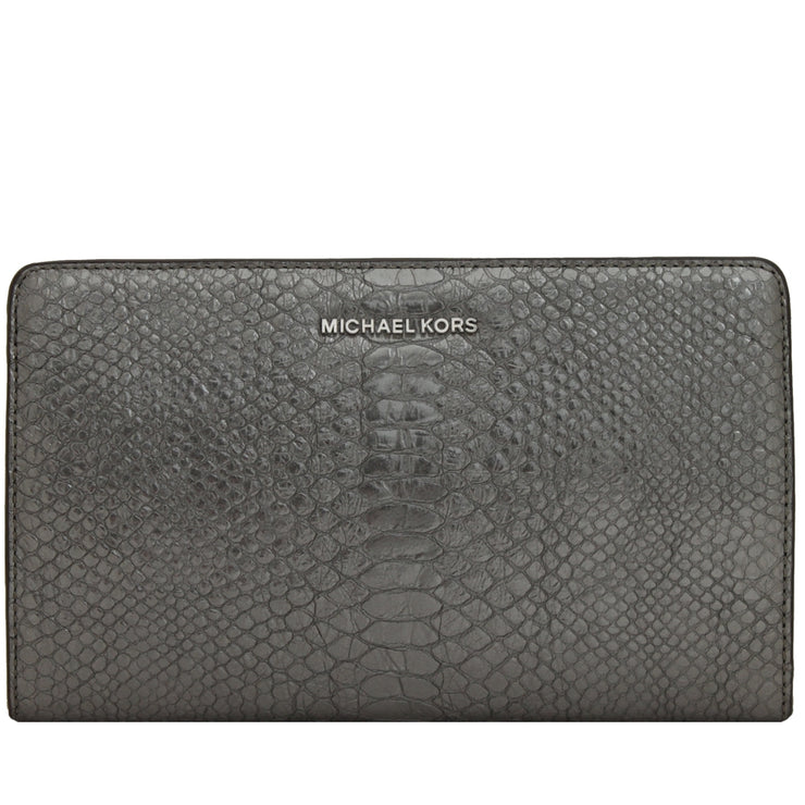 Michael Kors Embossed Leather Large Crossbody Clutch Bag- Pewter