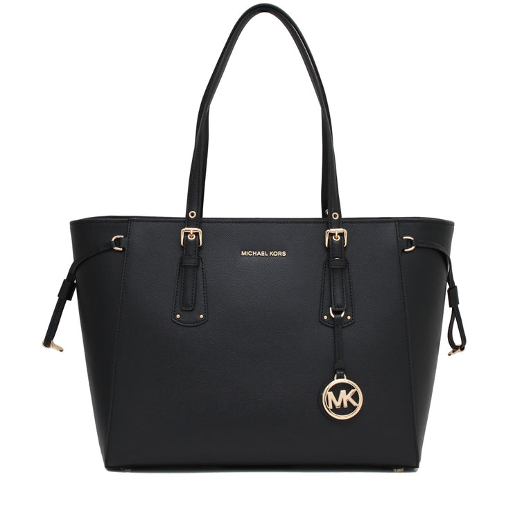 Michael Kors Voyager Medium Leather Multi-Function Top-Zip Tote Bag- Black