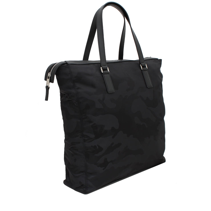 Michael Kors Kent Large Camouflage Nylon Tote Bag- Black
