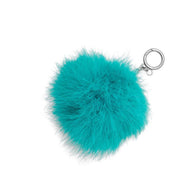 Michael Kors Large Round Feather Pom Pom Key Charm- Tile Blue
