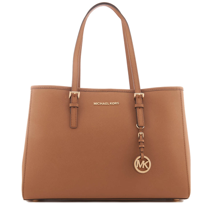 Michael Kors Jet Set Travel Large East West Leather Tote Bag- Luggage