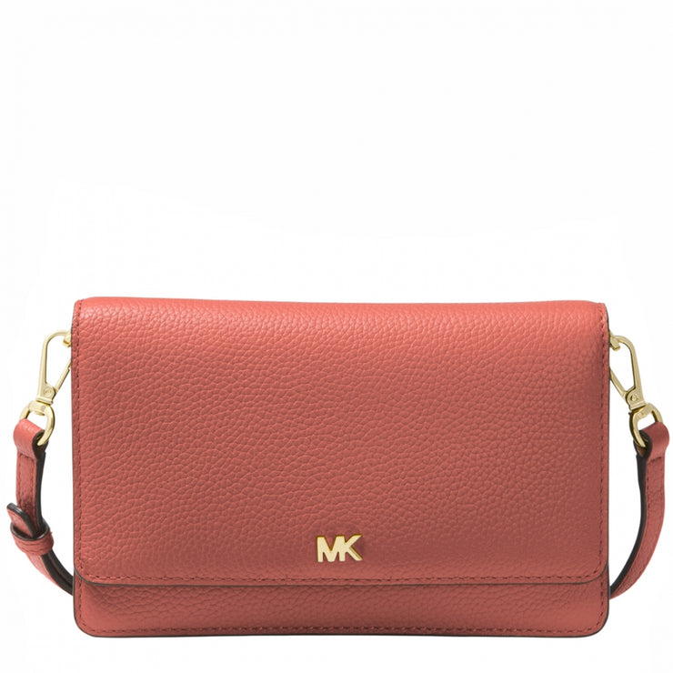 Michael Kors Pebbled Leather Convertible Wallet/ Crossbody Bag- Sunset Peach