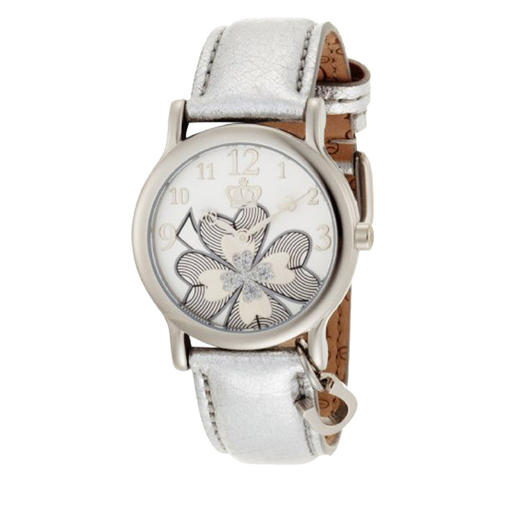 Juicy Couture Ladies Sparkly Flower Round Dial Watch w Silver Leather Strap & Charm