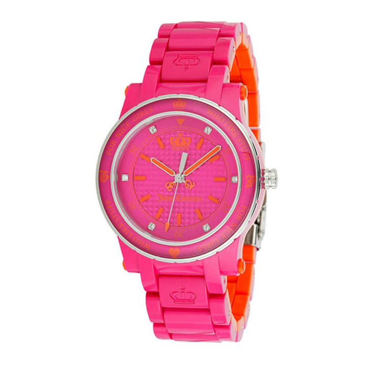 Ladies Plastic Bracelet Watch w Orange Accents