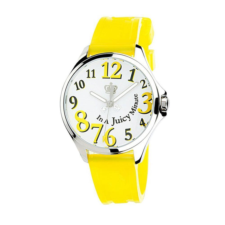 Ladies Yellow Silicon Strap Watch w White Dial