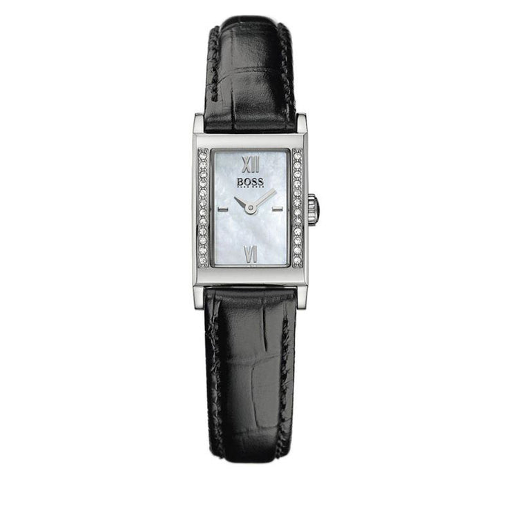 Hugo Boss Ladies' Black Leather Watch w Crystal-Accented Rectangular Dial