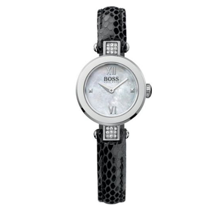 Hugo Boss Ladies' Black Leather Watch w Crystal-Accented Round Dial