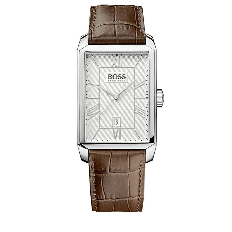 Hugo Boss Watch 1512967- Brown Leather with Rectangular Silver Dial Men Watch