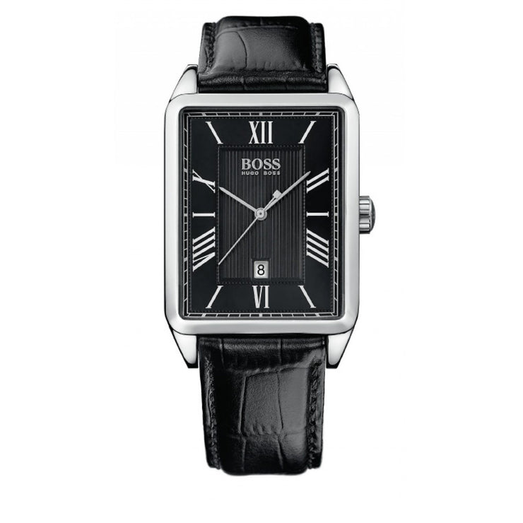 Hugo Boss Watch 1512425- Black Leather with Rectangular Black Dial Men Watch