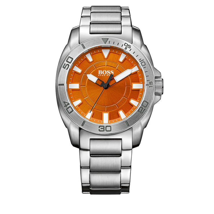 Hugo Boss Watch 1512947- Silver Stainless Steel with Round Orange Dial Men Watch