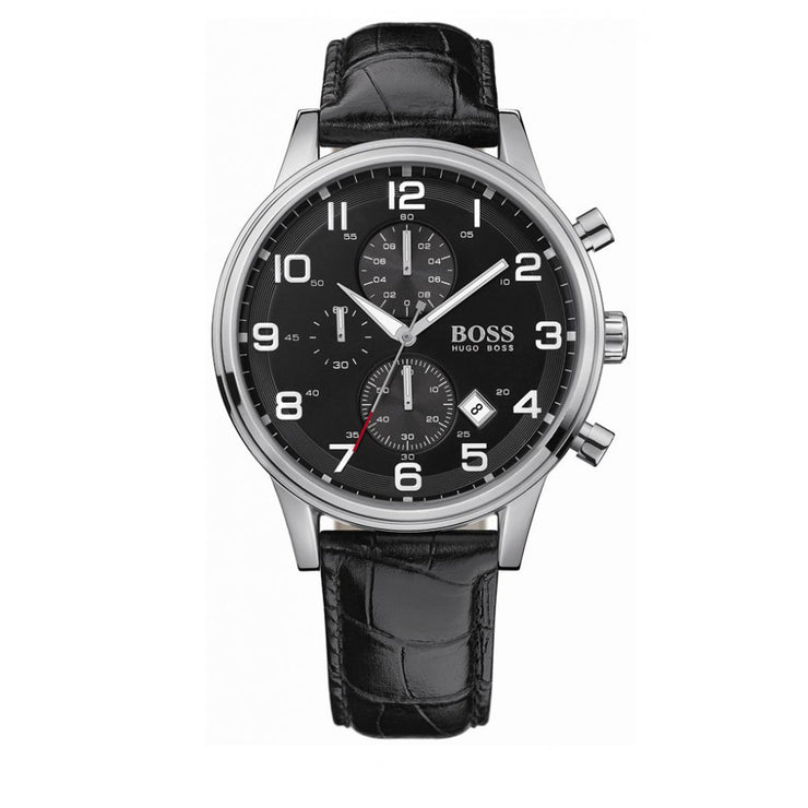 Hugo Boss Watch 1512448- Black Leather with Round Black Dial Chronograph Men Watch