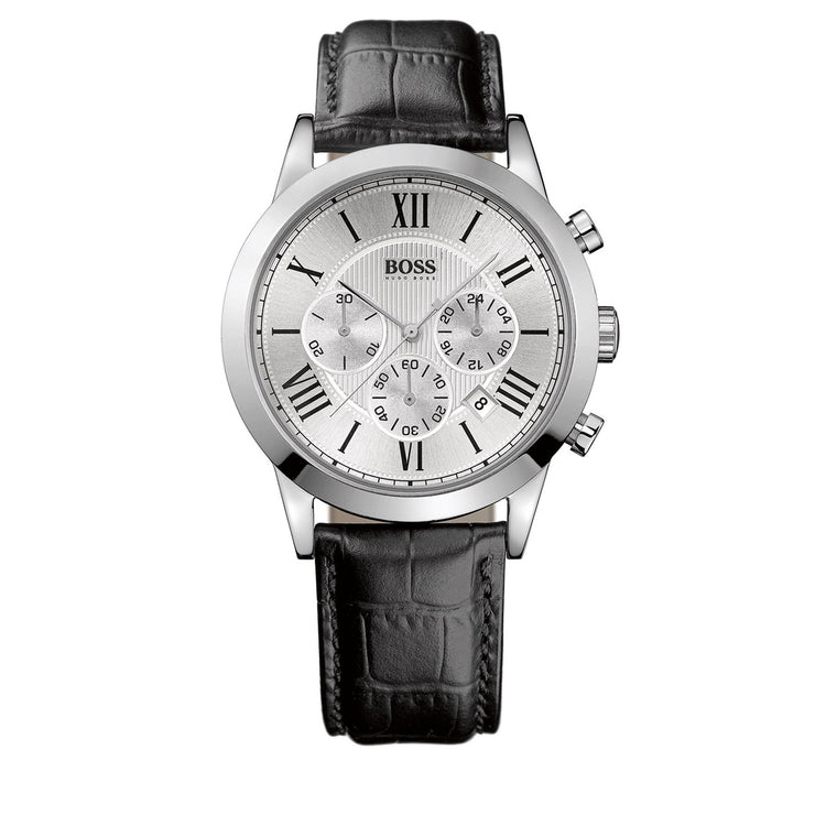 Hugo Boss Watch 1512573- Black Leather with Round Silver Dial Chronograph Men Watch