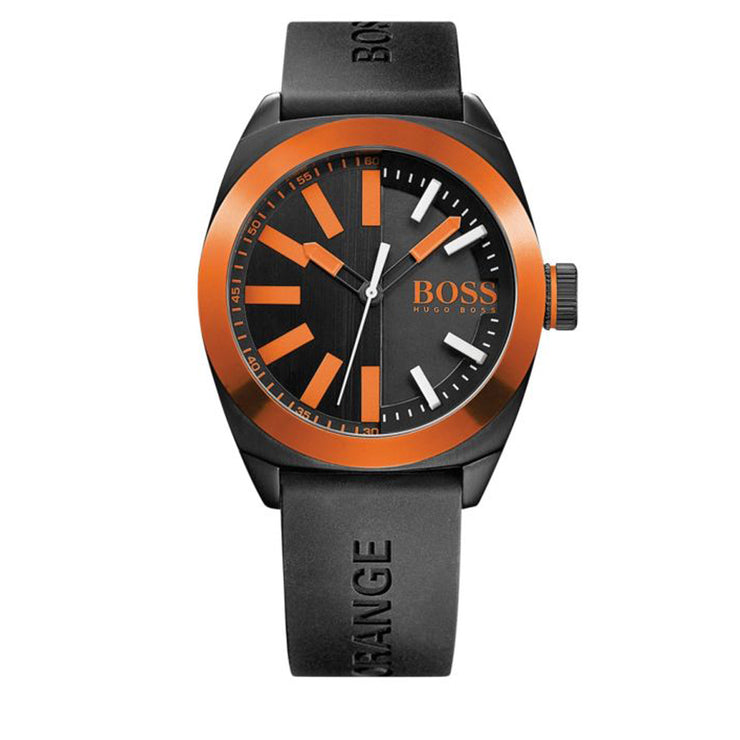 Hugo Boss Watch 1513054- Black Silicon with Round Black Dial & Orange Accents Men Watch