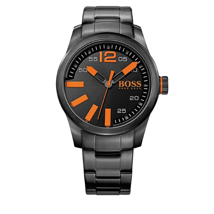 Hugo Boss Watch 1513051- Black Stainless Steel with Round Dial & Orange Accents Men Watch