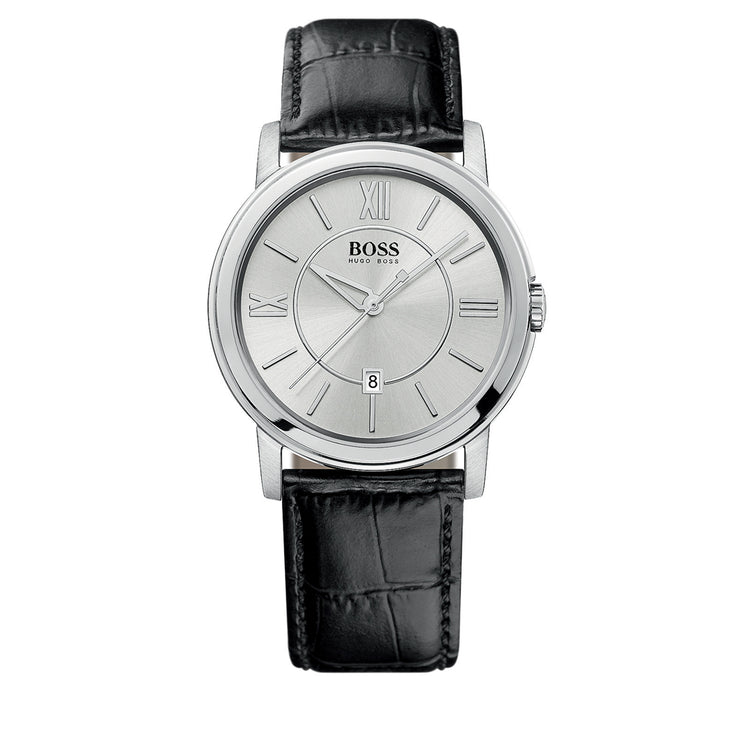 Hugo Boss Watch 1512417- Black Leather with Round Silver Dial Men Watch
