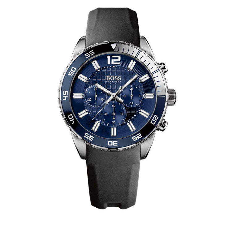 Hugo Boss Watch 1512803- Black Silicon with Round Blue Dial Chronograph Men Watch