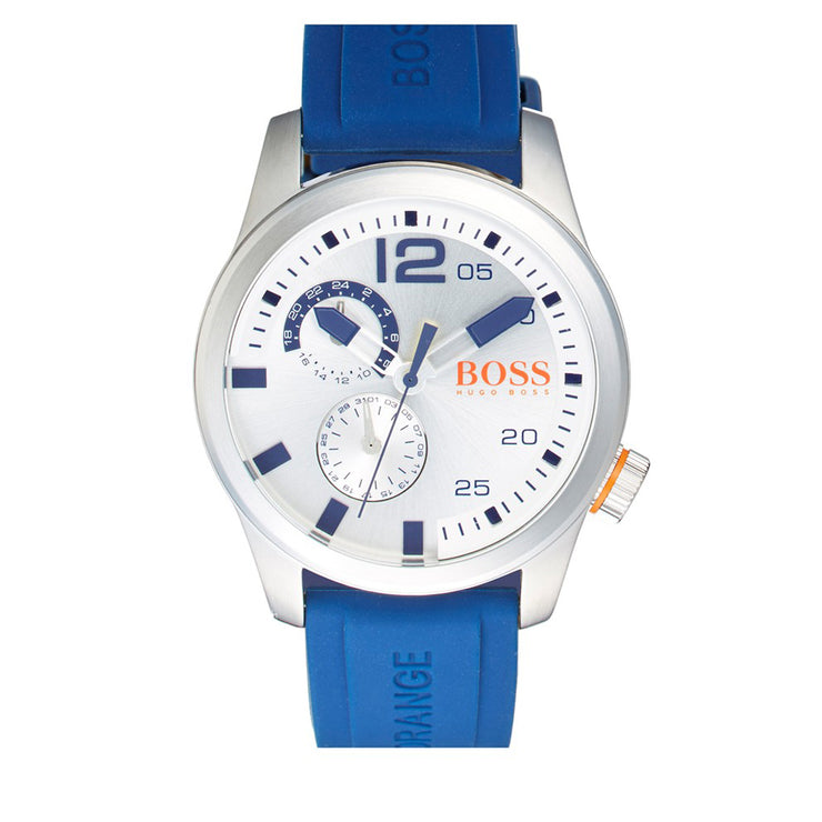 Hugo Boss Watch 1513146- Paris Blue Silicon with Round Silver Dial Men Watch