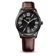 Hugo Boss Watch 1513023- Brown Leather with Round Black Dial Men Watch