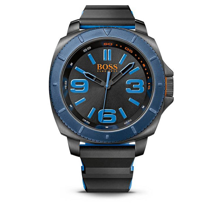 Hugo Boss Watch 1513108- Black Silicon with Round Black Dial & Blue Accents Men Watch