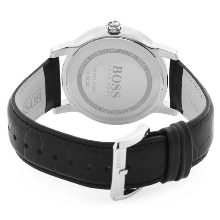 Hugo Boss Watch 1512840- Black Leather with Round Black Dial Men Watch