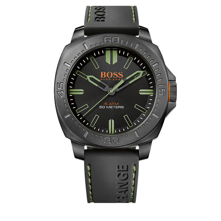 Hugo Boss Watch 1513254- Sao Paulo Black Silicon with Round Black Dial Men Watch