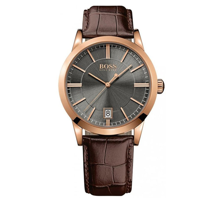 Hugo Boss Watch 1513131- Brown Leather with Round Black Dial Men Watch