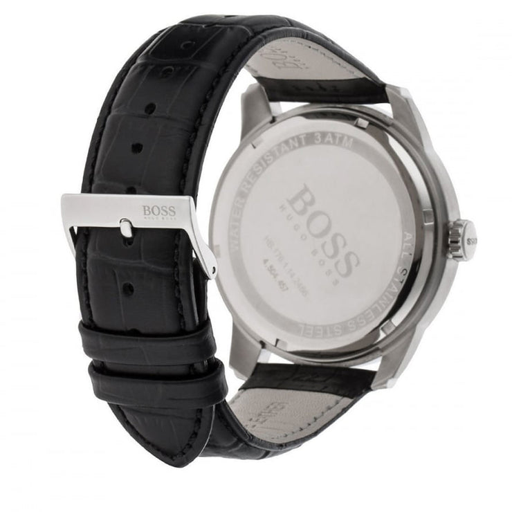 Hugo Boss Watch 1512767- Black Leather with Round Black Dial Men Watch