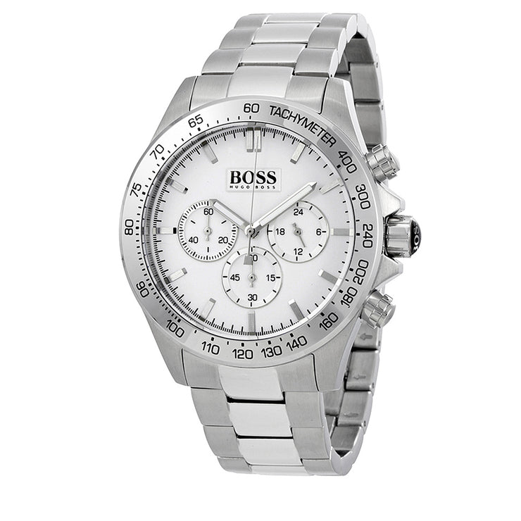 Hugo Boss Watch 1512962- Stainless Steel with Round White Dial Chronograph Men Watch