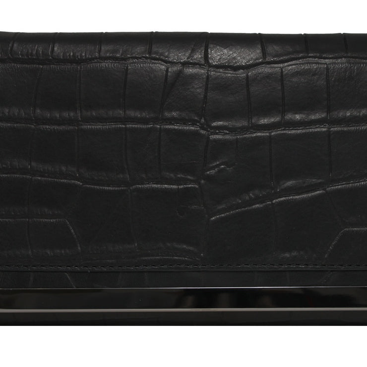 Botkier Croc Embossed Leather Misha Foldover Chain Strap Clutch