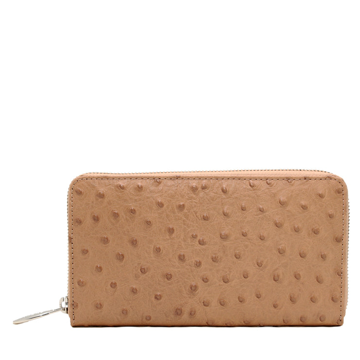 Furla Ostrich Embossed Leather Zip Around Continental Wallet