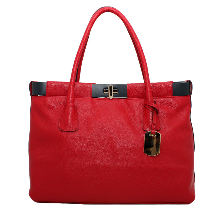 Furla Pebbled Leather Anemone Shopper Tote Bag- Cherry