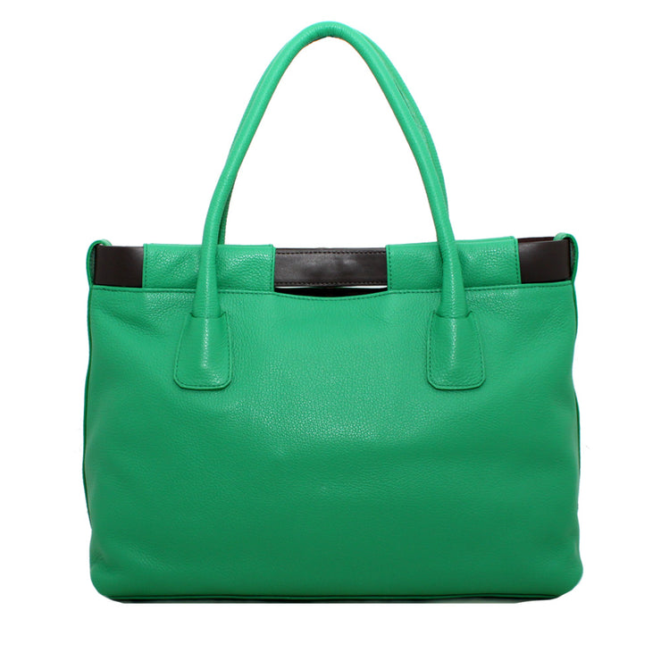 Furla Pebbled Leather Anemone Shopper Tote Bag- Avocado