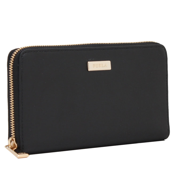 Furla Saffiano Leather Zip Around Continental Wallet- Onyx
