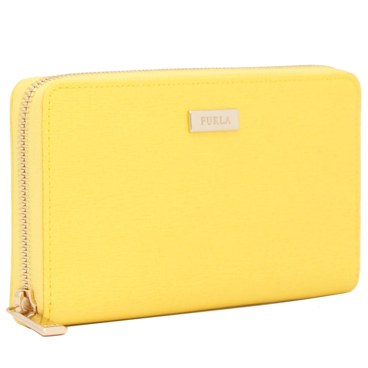 Furla Saffiano Leather Zip Around Continental Wallet- Sunny
