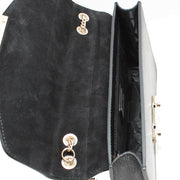 Furla Saffiano Leather Flap Bag with Chain- Onyx