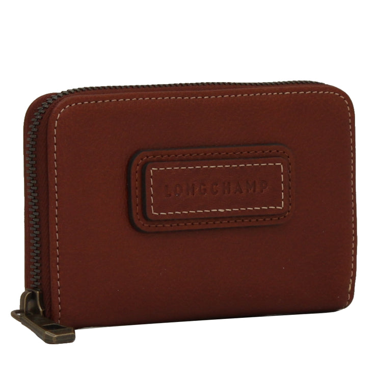 Longchamp Leather Zip Coin Purse- Card Holder- Cognac
